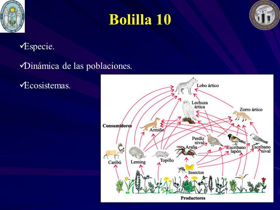 Bolilla 10 Especie. Dinámica de las poblaciones. Ecosistemas.