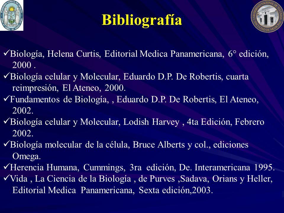 Biología, Helena Curtis, Editorial Medica Panamericana, 6° edición, 2000. Biología celular y Molecular, Eduardo D.P. De Robertis, cuarta reimpresión,