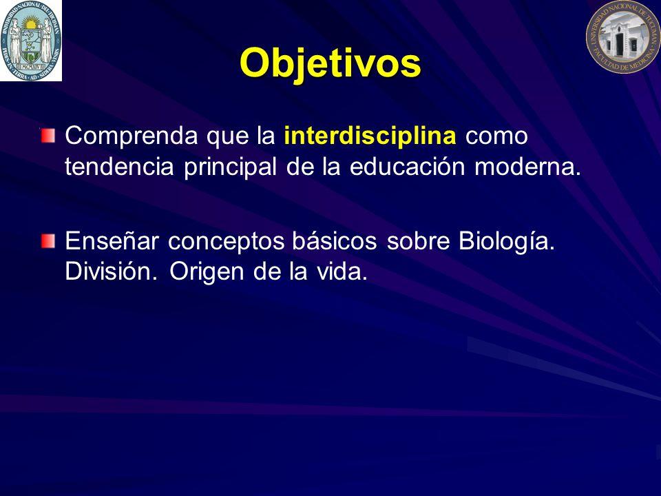 Objetivos Comprenda que la interdisciplina como tendencia principal de la educación moderna. Enseñar conceptos básicos sobre Biología. División. Orige