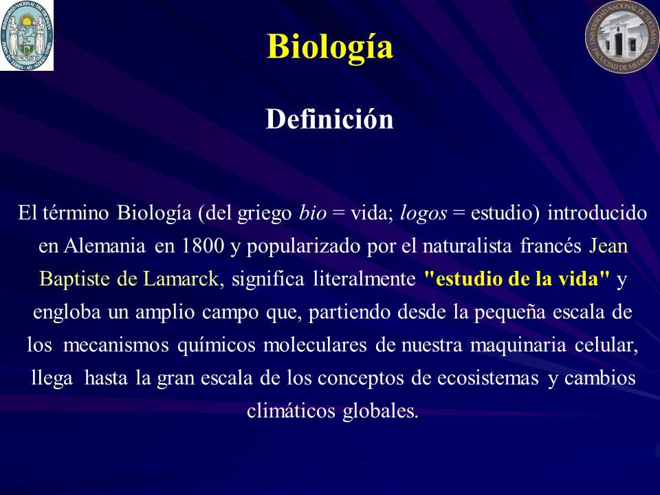 El término Biología (del griego bio = vida; logos = estudio) introducido en Alemania en 1800 y popularizado por el naturalista francés Jean Baptiste d