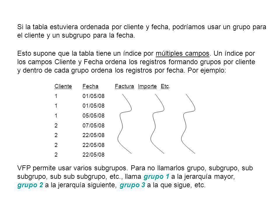 Si la tabla estuviera ordenada por cliente y fecha, podríamos usar un grupo para el cliente y un subgrupo para la fecha.