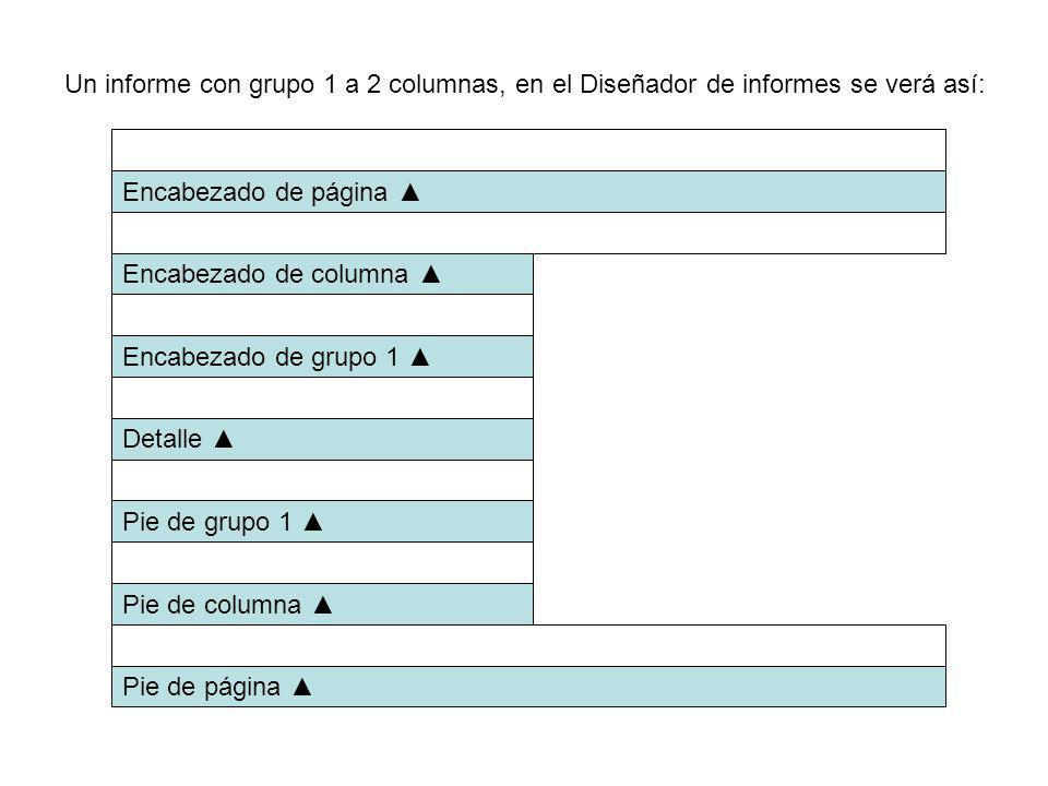 Un informe con grupo 1 a 2 columnas, en el Diseñador de informes se verá así: Encabezado de página Encabezado de columna Encabezado de grupo 1 Detalle Pie de grupo 1 Pie de columna Pie de página