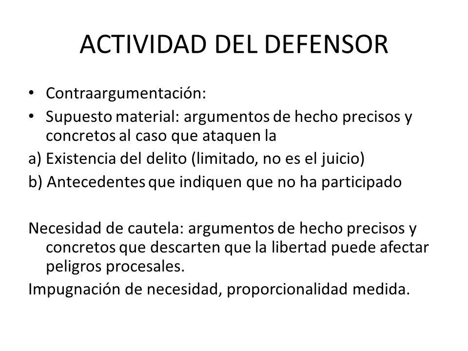 ACTIVIDAD DEL DEFENSOR Contraargumentación: Supuesto material: argumentos de hecho precisos y concretos al caso que ataquen la a) Existencia del delit