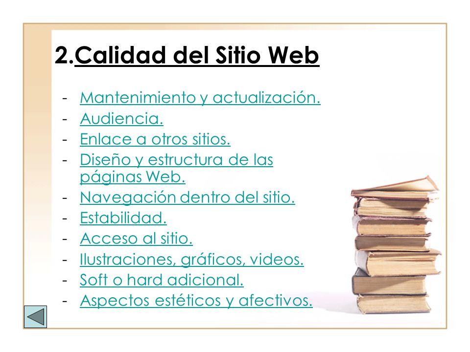 2.Calidad del Sitio Web -Mantenimiento y actualización.Mantenimiento y actualización. -Audiencia.Audiencia. -Enlace a otros sitios.Enlace a otros siti
