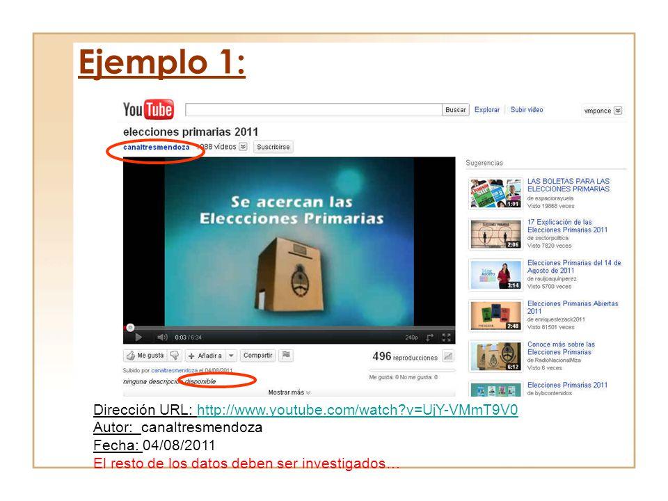 Dirección URL: http://www.youtube.com/watch?v=UjY-VMmT9V0http://www.youtube.com/watch?v=UjY-VMmT9V0 Autor: canaltresmendoza Fecha: 04/08/2011 El resto