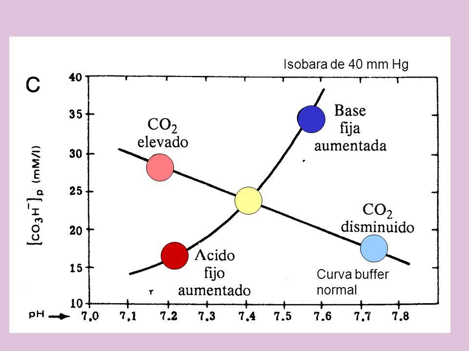 Isobara de 40 mm Hg Curva buffer normal