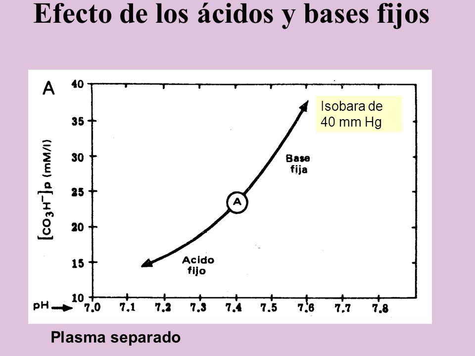 Efecto de los ácidos y bases fijos Isobara de 40 mm Hg Plasma separado