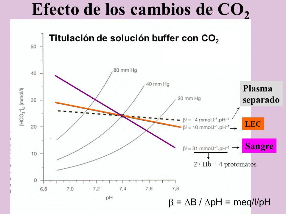 Efecto de los cambios de CO 2 27 Hb + 4 proteinatos LEC Titulación de solución buffer con CO 2 Plasma separado Sangre = B / pH = meq/l/pH