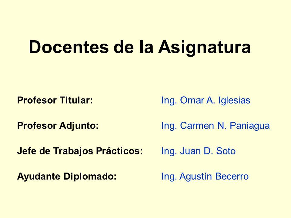 Docentes de la Asignatura Profesor Titular:Ing.Omar A.