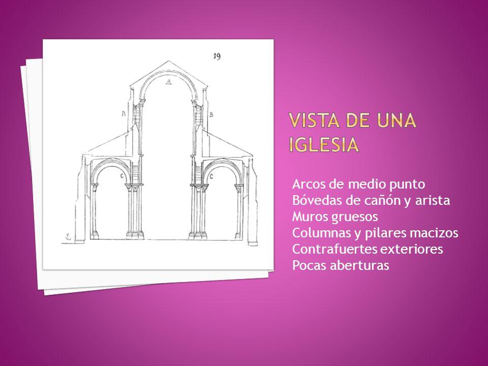 Arcos de medio punto Bóvedas de cañón y arista Muros gruesos Columnas y pilares macizos Contrafuertes exteriores Pocas aberturas