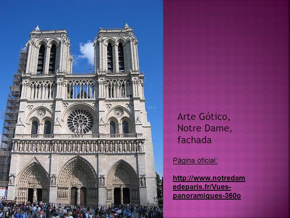 Arte Gótico, Notre Dame, fachada Página oficial: http://www.notredam edeparis.fr/Vues- panoramiques-360o