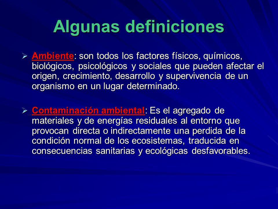 Algunas definiciones Ambiente: son todos los factores físicos, químicos, biológicos, psicológicos y sociales que pueden afectar el origen, crecimiento