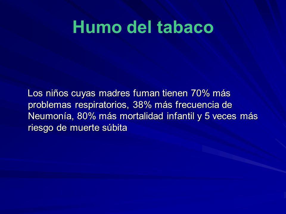 Humo del tabaco Los niños cuyas madres fuman tienen 70% más problemas respiratorios, 38% más frecuencia de Neumonía, 80% más mortalidad infantil y 5 v