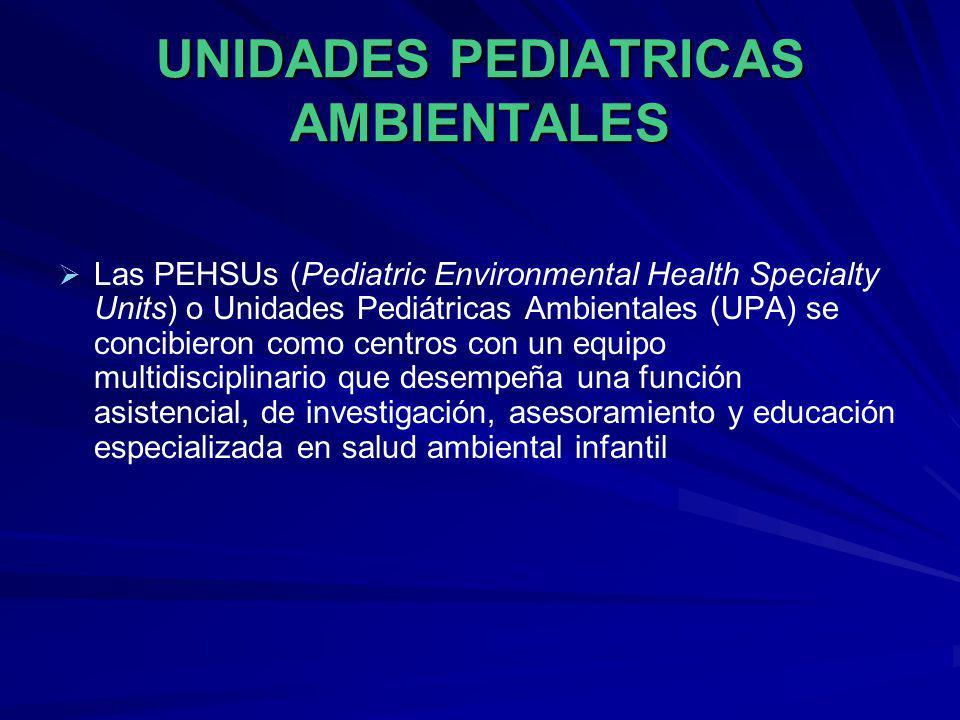 UNIDADES PEDIATRICAS AMBIENTALES Las PEHSUs (Pediatric Environmental Health Specialty Units) o Unidades Pediátricas Ambientales (UPA) se concibieron c