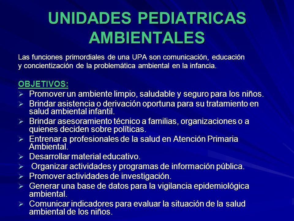 UNIDADES PEDIATRICAS AMBIENTALES Las funciones primordiales de una UPA son comunicación, educación y concientización de la problemática ambiental en l