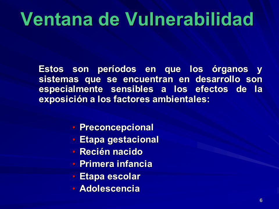 6 Ventana de Vulnerabilidad Estos son períodos en que los órganos y sistemas que se encuentran en desarrollo son especialmente sensibles a los efectos