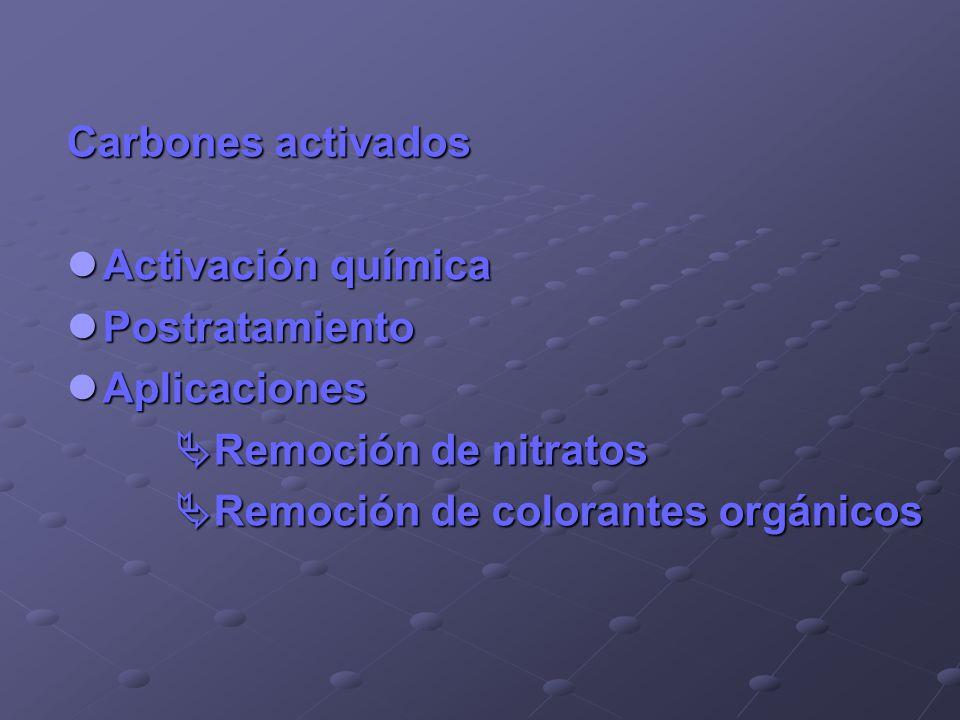 Carbones activados Activación química Activación química Postratamiento Postratamiento Aplicaciones Aplicaciones Remoción de nitratos Remoción de nitr