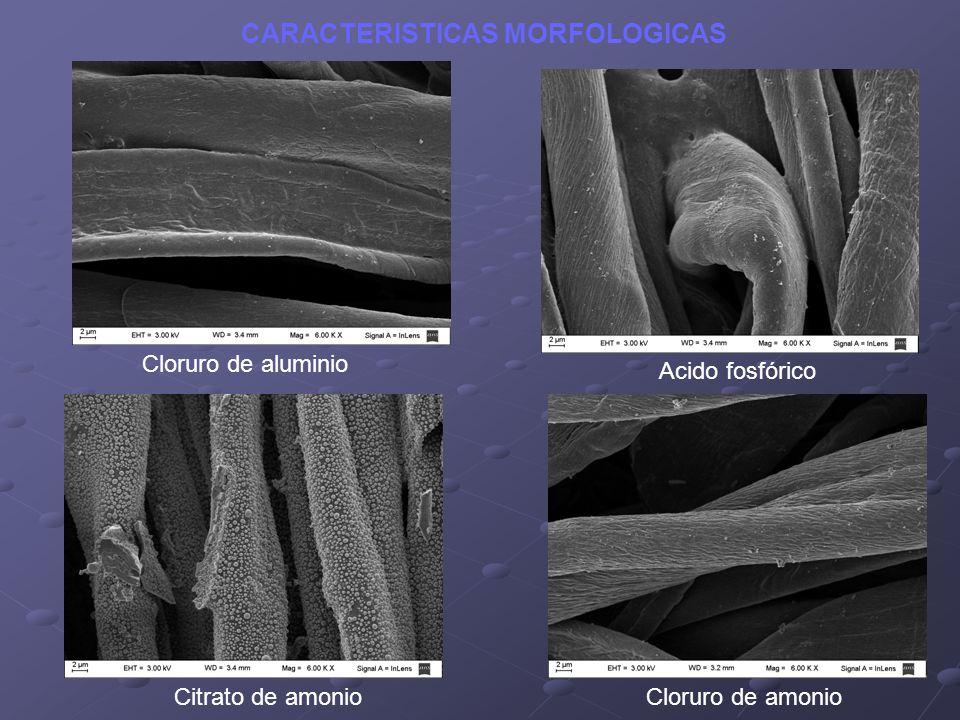 Cloruro de aluminio Acido fosfórico Citrato de amonioCloruro de amonio CARACTERISTICAS MORFOLOGICAS