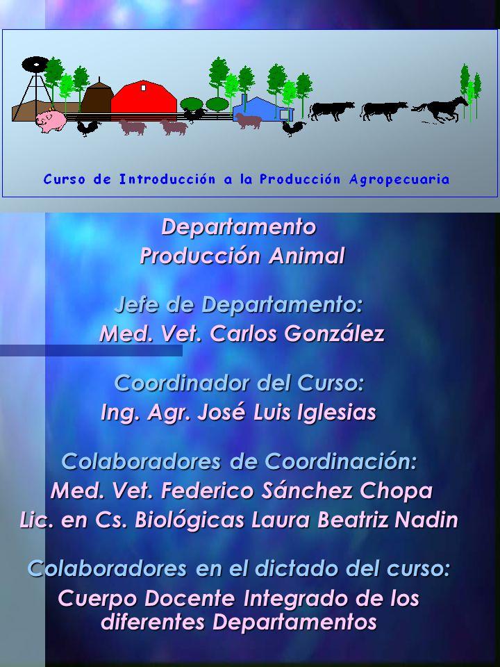 Departamento Producción Animal Producción Animal Jefe de Departamento: Med. Vet. Carlos González Med. Vet. Carlos González Coordinador del Curso: Ing.