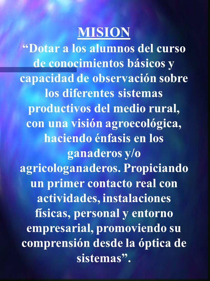 MISION Dotar a los alumnos del curso de conocimientos básicos y capacidad de observación sobre los diferentes sistemas productivos del medio rural, co