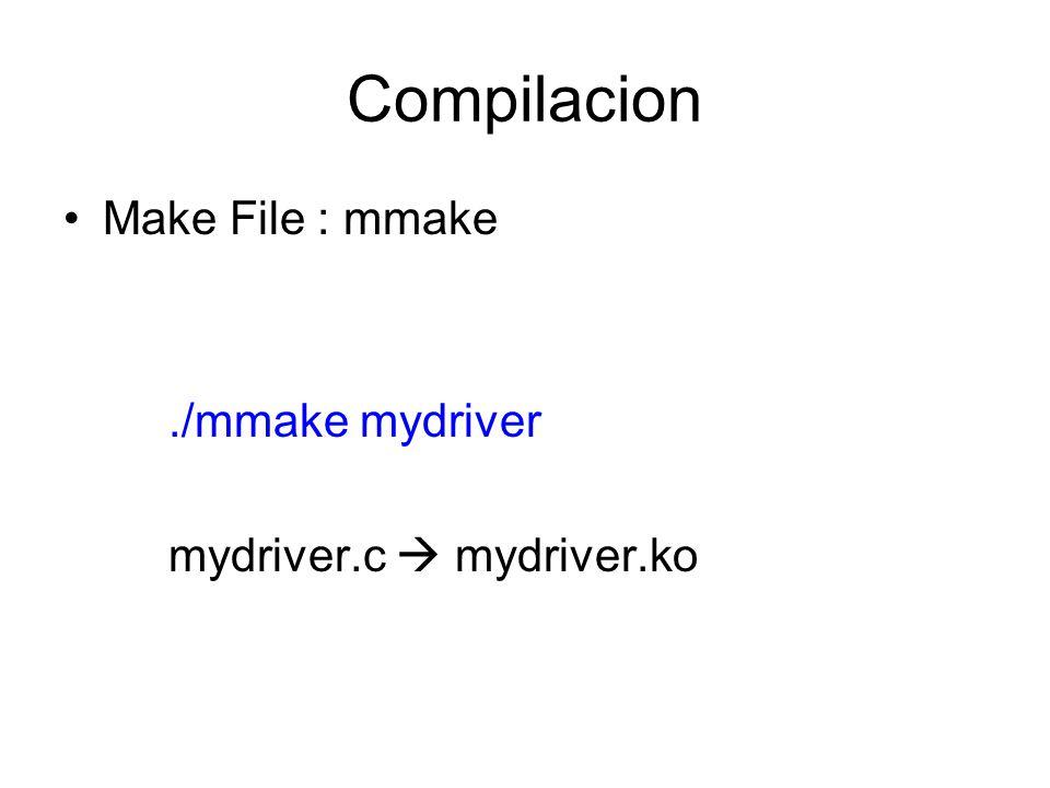 Compilacion Make File : mmake./mmake mydriver mydriver.c mydriver.ko