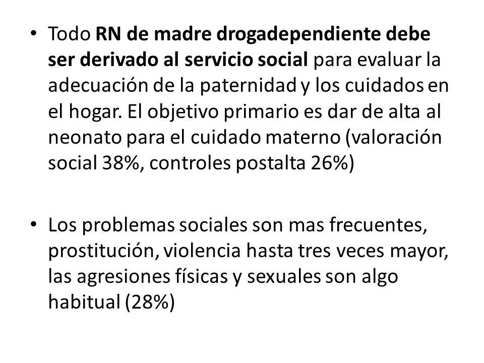 Todo RN de madre drogadependiente debe ser derivado al servicio social para evaluar la adecuación de la paternidad y los cuidados en el hogar. El obje