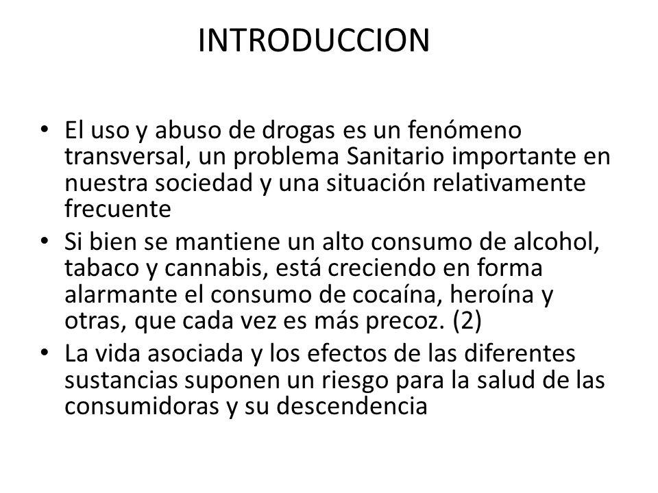 INTRODUCCION El uso y abuso de drogas es un fenómeno transversal, un problema Sanitario importante en nuestra sociedad y una situación relativamente f