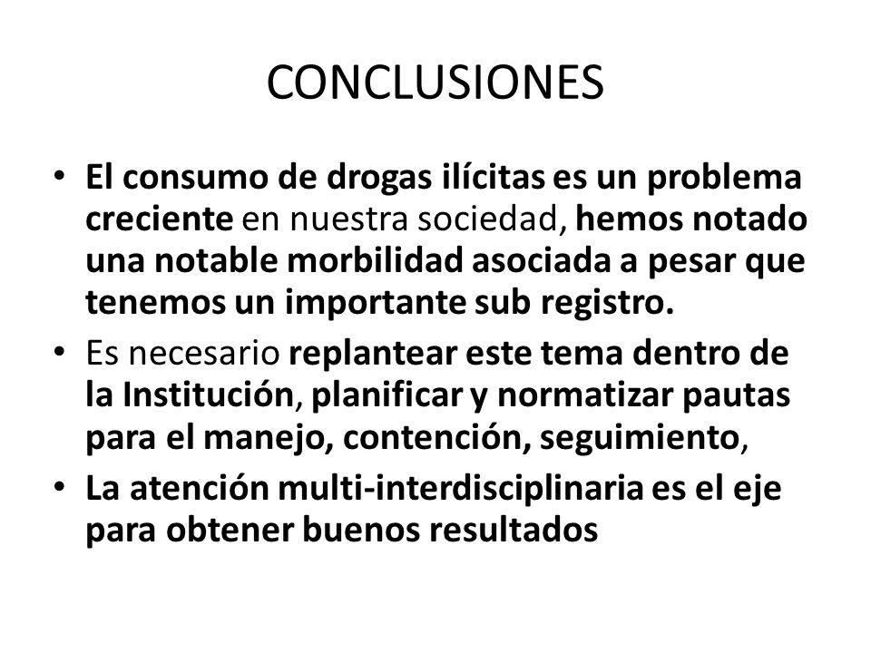 CONCLUSIONES El consumo de drogas ilícitas es un problema creciente en nuestra sociedad, hemos notado una notable morbilidad asociada a pesar que tene