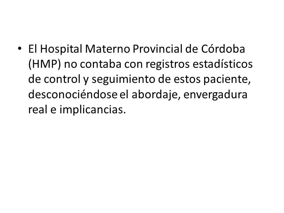 El Hospital Materno Provincial de Córdoba (HMP) no contaba con registros estadísticos de control y seguimiento de estos paciente, desconociéndose el a