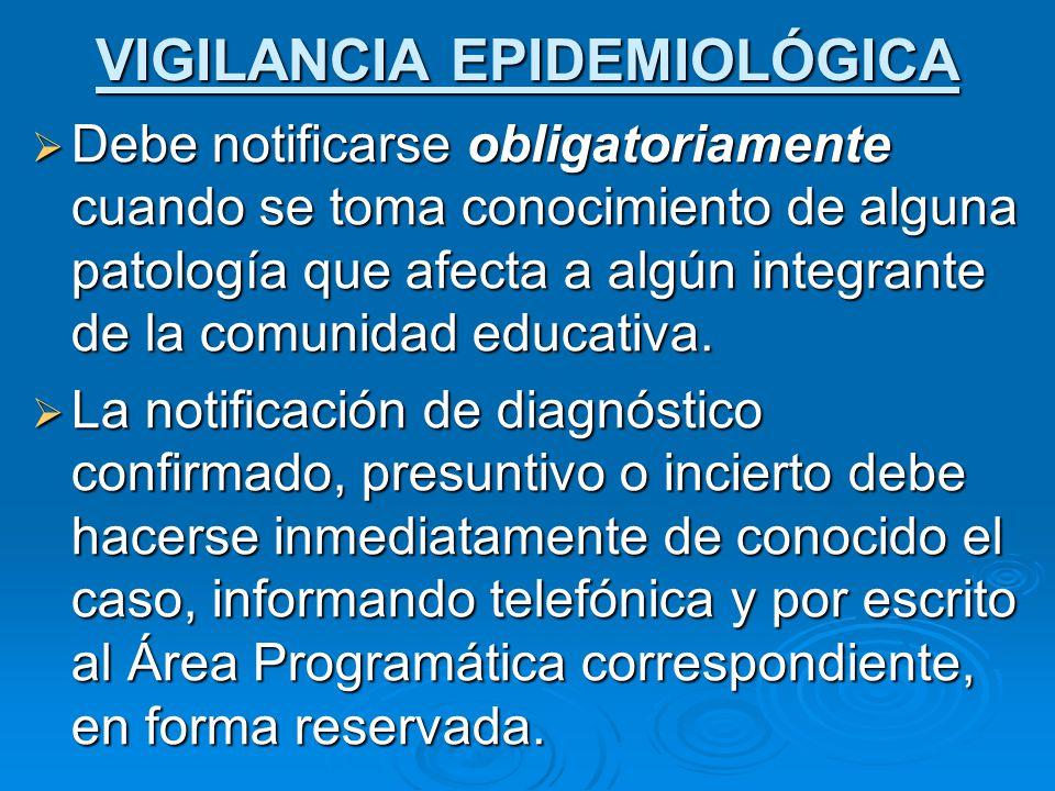 Debe notificarse obligatoriamente cuando se toma conocimiento de alguna patología que afecta a algún integrante de la comunidad educativa.