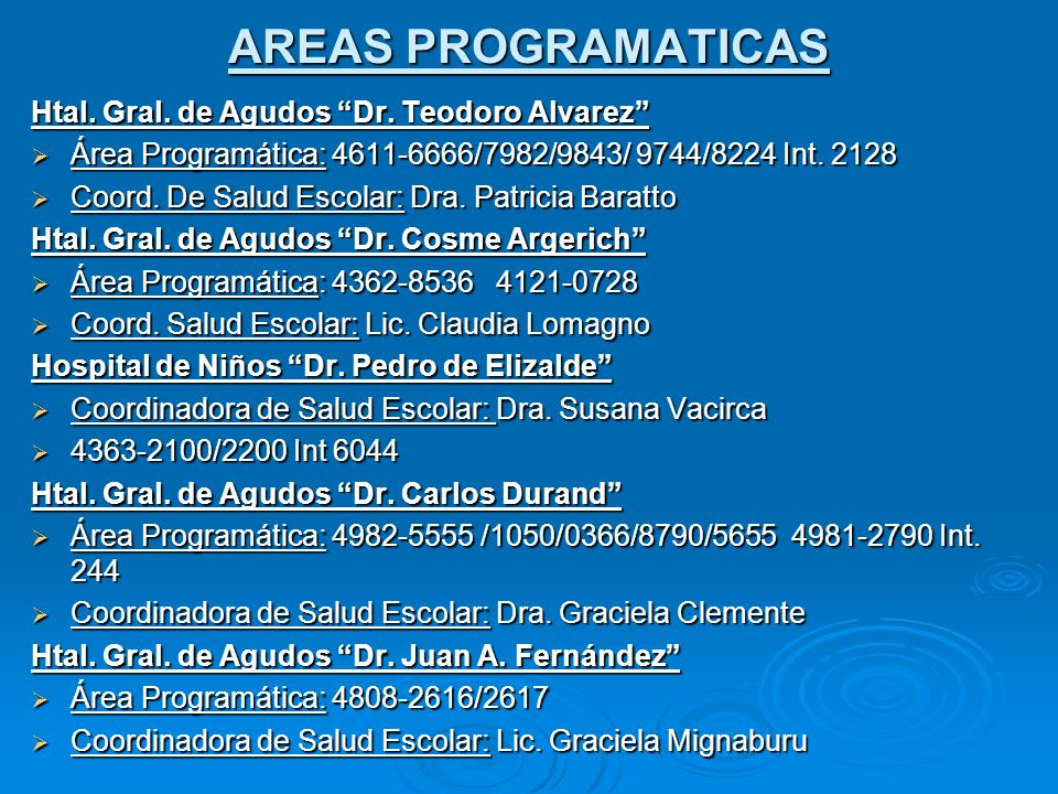 AREAS PROGRAMATICAS Htal.Gral. de Agudos Dr.