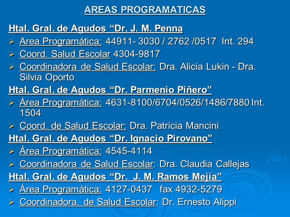 AREAS PROGRAMATICAS Htal.Gral. de Agudos Dr. J. M.