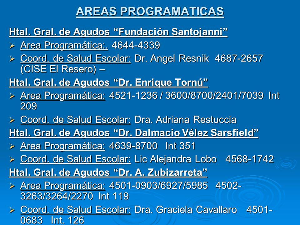 AREAS PROGRAMATICAS Htal.Gral. de Agudos Fundación Santojanni Area Programática:.