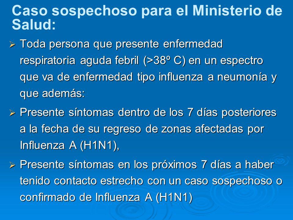Caso sospechoso para el Ministerio de Salud: Toda persona que presente enfermedad respiratoria aguda febril (>38º C) en un espectro que va de enfermedad tipo influenza a neumonía y que además: Toda persona que presente enfermedad respiratoria aguda febril (>38º C) en un espectro que va de enfermedad tipo influenza a neumonía y que además: Presente síntomas dentro de los 7 días posteriores a la fecha de su regreso de zonas afectadas por Influenza A (H1N1), Presente síntomas dentro de los 7 días posteriores a la fecha de su regreso de zonas afectadas por Influenza A (H1N1), Presente síntomas en los próximos 7 días a haber tenido contacto estrecho con un caso sospechoso o confirmado de Influenza A (H1N1) Presente síntomas en los próximos 7 días a haber tenido contacto estrecho con un caso sospechoso o confirmado de Influenza A (H1N1)