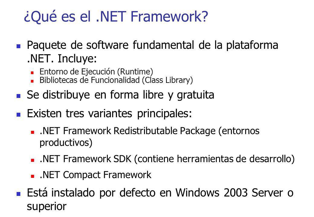 ¿Qué es el.NET Framework? Paquete de software fundamental de la plataforma.NET. Incluye: Entorno de Ejecución (Runtime) Bibliotecas de Funcionalidad (