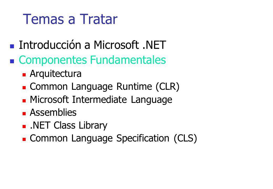 Temas a Tratar Introducción a Microsoft.NET Componentes Fundamentales Arquitectura Common Language Runtime (CLR) Microsoft Intermediate Language Assem