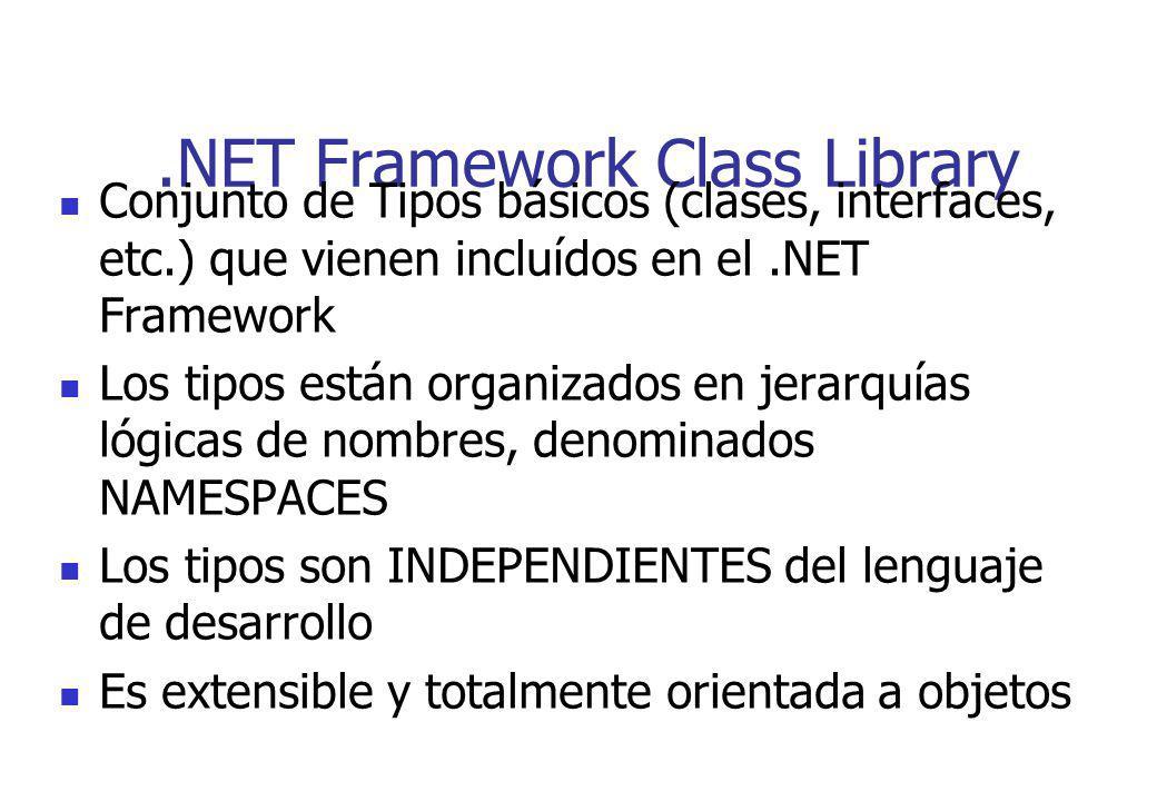 .NET Framework Class Library Conjunto de Tipos básicos (clases, interfaces, etc.) que vienen incluídos en el.NET Framework Los tipos están organizados