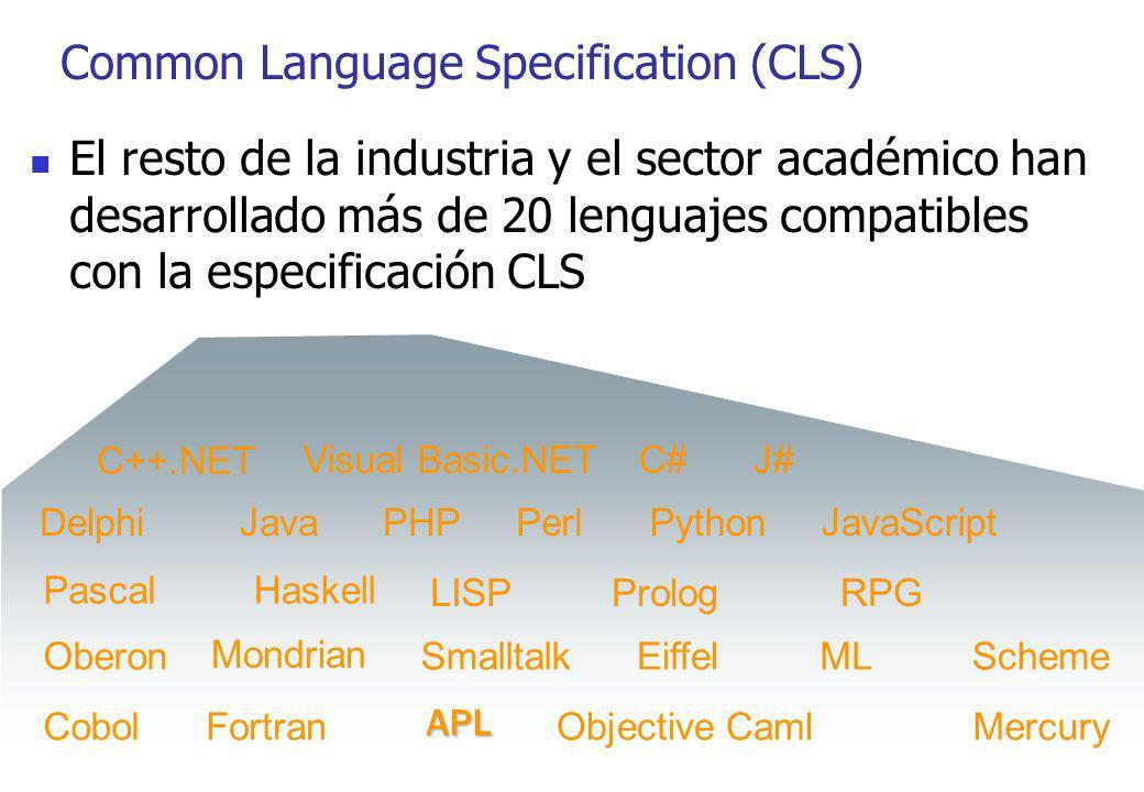 Common Language Specification (CLS) El resto de la industria y el sector académico han desarrollado más de 20 lenguajes compatibles con la especificac
