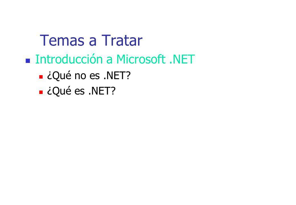 Temas a Tratar Introducción a Microsoft.NET ¿Qué no es.NET? ¿Qué es.NET?