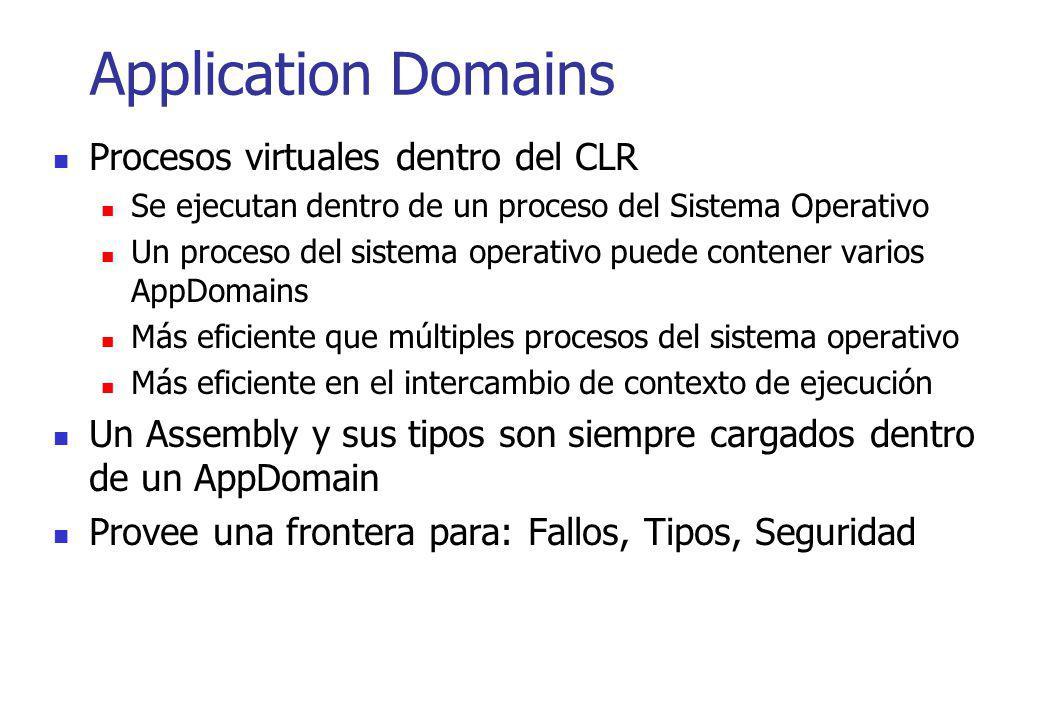 Application Domains Procesos virtuales dentro del CLR Se ejecutan dentro de un proceso del Sistema Operativo Un proceso del sistema operativo puede co