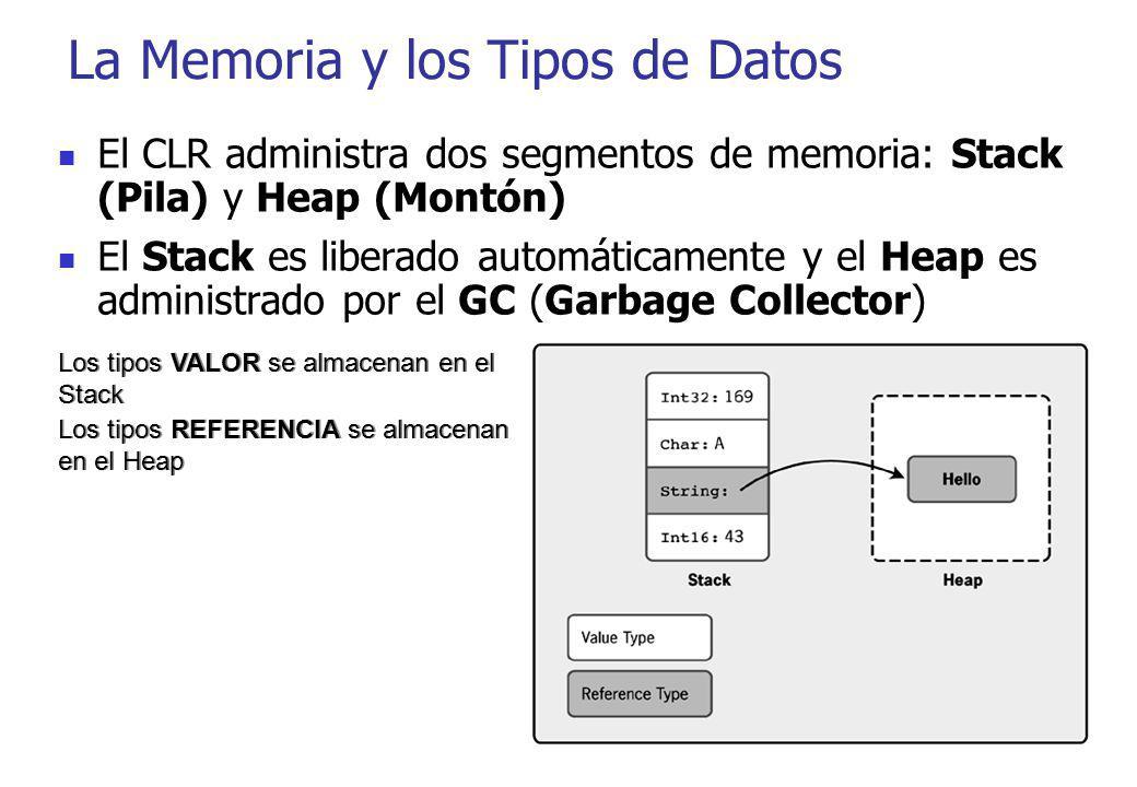 La Memoria y los Tipos de Datos Los tipos VALOR se almacenan en el Stack Los tipos REFERENCIA se almacenan en el Heap Los tipos VALOR se almacenan en