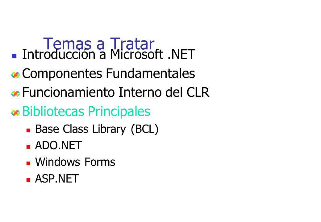 Temas a Tratar Introducción a Microsoft.NET Componentes Fundamentales Funcionamiento Interno del CLR Bibliotecas Principales Base Class Library (BCL)