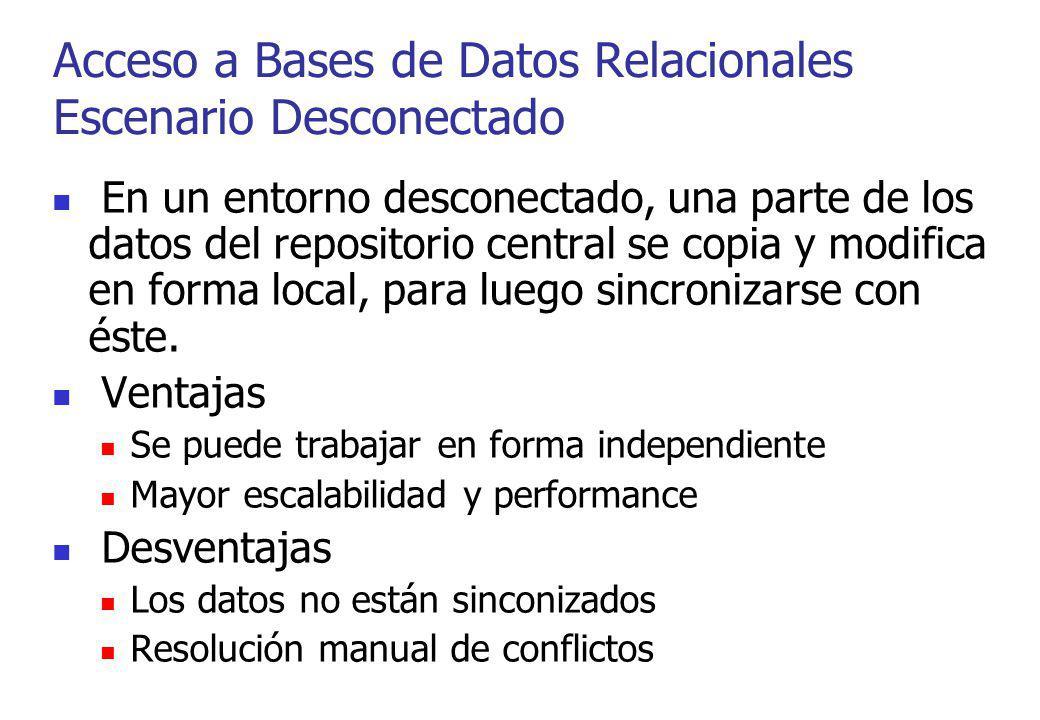 En un entorno desconectado, una parte de los datos del repositorio central se copia y modifica en forma local, para luego sincronizarse con éste. Vent