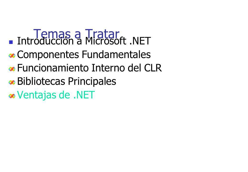 Temas a Tratar Introducción a Microsoft.NET Componentes Fundamentales Funcionamiento Interno del CLR Bibliotecas Principales Ventajas de.NET