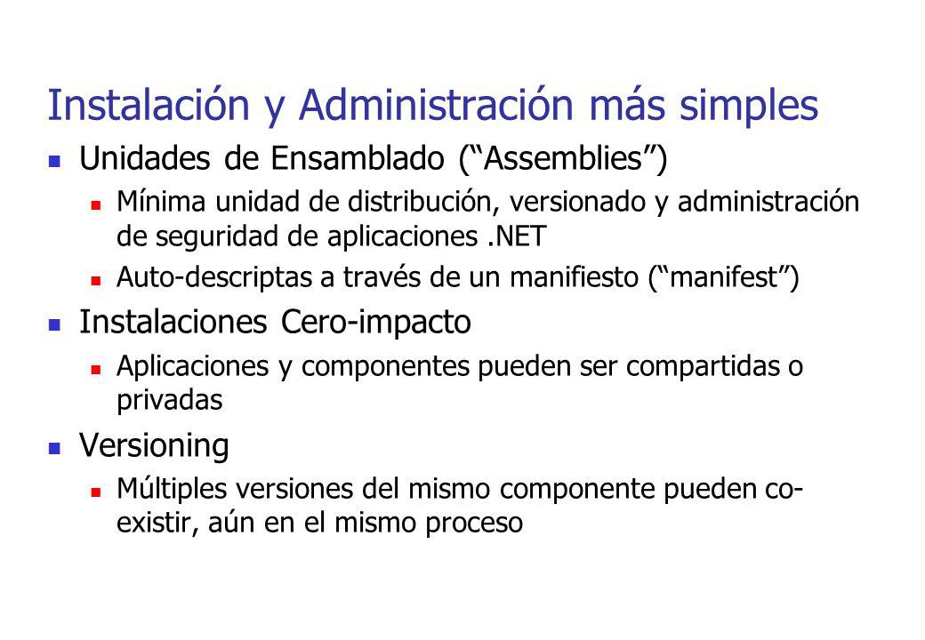 Instalación y Administración más simples Unidades de Ensamblado (Assemblies) Mínima unidad de distribución, versionado y administración de seguridad d