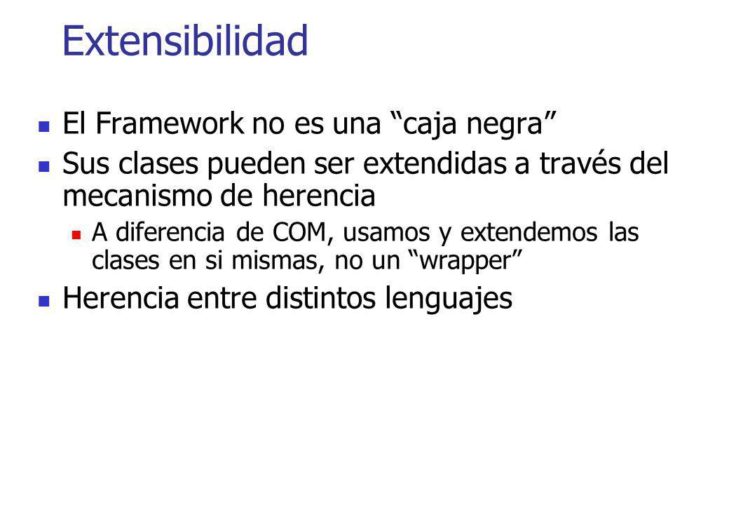 Extensibilidad El Framework no es una caja negra Sus clases pueden ser extendidas a través del mecanismo de herencia A diferencia de COM, usamos y ext