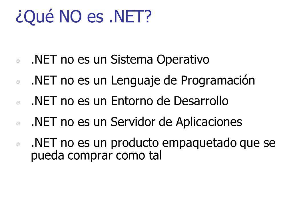 ¿Qué NO es.NET?.NET no es un Sistema Operativo.NET no es un Lenguaje de Programación.NET no es un Entorno de Desarrollo.NET no es un Servidor de Aplic