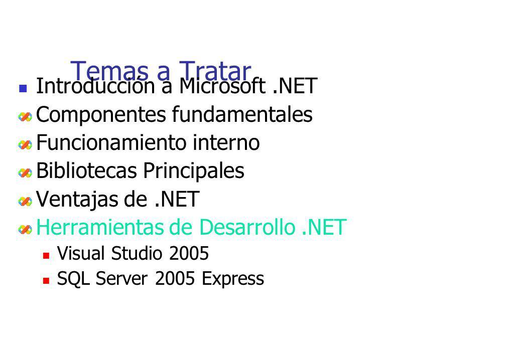 Temas a Tratar Introducción a Microsoft.NET Componentes fundamentales Funcionamiento interno Bibliotecas Principales Ventajas de.NET Herramientas de D