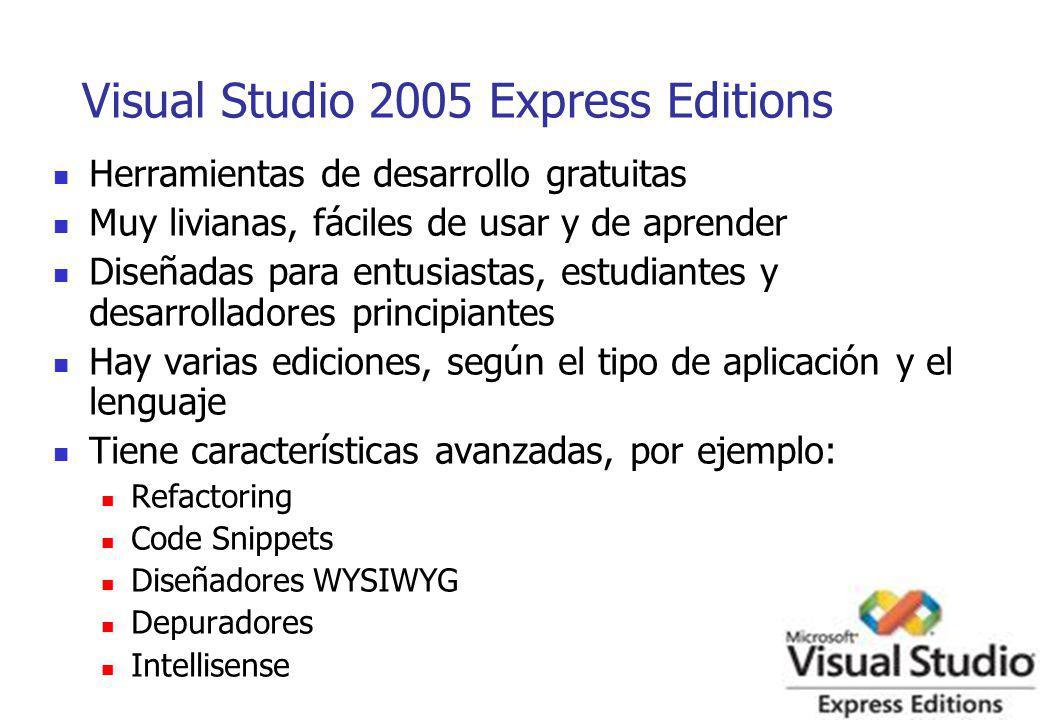 Visual Studio 2005 Express Editions Herramientas de desarrollo gratuitas Muy livianas, fáciles de usar y de aprender Diseñadas para entusiastas, estud