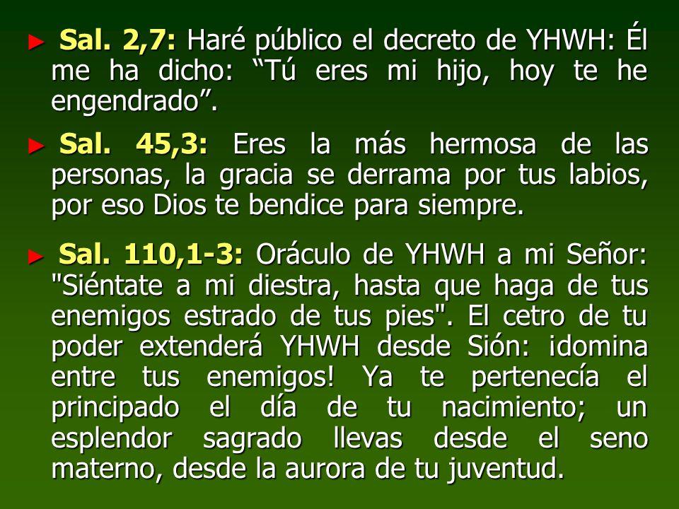 Sal.2,7: Haré público el decreto de YHWH: Él me ha dicho: Tú eres mi hijo, hoy te he engendrado.